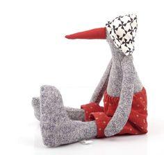 Timo-Handmade silk bird soft toy in black & white hat #timohandmade #handmade #softtoy #bird #kiwi #duck