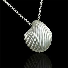 Designer Large Seashell Sterling Silver Pendant $149 #orospot #sterling #silver #pendant #seashell #necklace #jewelry