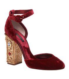 Decadence. @Dolce & Gabbana Vally Burgundy Velvet Embellished Jewel Heeled Pump #ShopBAZAAR
