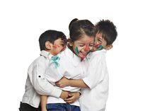 Three children playing holi Three Kids, Kids Playing, Holi, Things To Come, India, Stock Photos, Children, Image, Kids