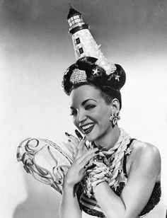 One of the best wearers of mimetic costumery ever. Previous note:  Carmen Miranda