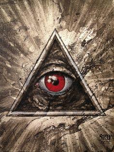 All seeing eye 02 by on DeviantArt Illuminati Tattoo, Masonic Art, Bar Art, All Seeing Eye, Alien Art, Traditional Paintings, Visionary Art, Psychedelic Art, Third Eye