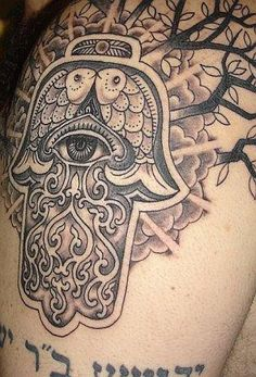 hamsa tattoo-inspiration I really like this one...the 2 fish add extra special meaning to it!