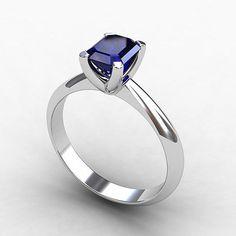 Platinum engagement ring with emerald cut Blue sapphire by TorkkeliJewellery, $2879.00