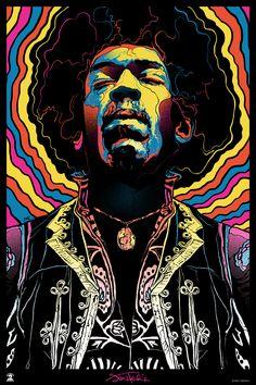 INSIDE THE ROCK POSTER FRAME BLOG: Gabz Jimi Hendrix, Voodoo Child Poster Release From Dark Hall Mansion