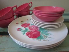 1950s Melmac Dishes - Eden Rose Pink and White & Untitled | Dishes Retro and Pastels