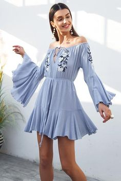 95d7139cf99 Off Shoulder Embroidery Flare Sleeve Romper