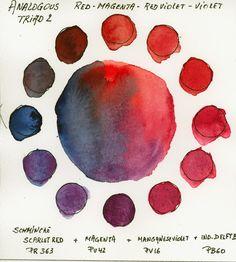 Analogous Tetrad Red to Blue with Schmincke Horadam Watercolors