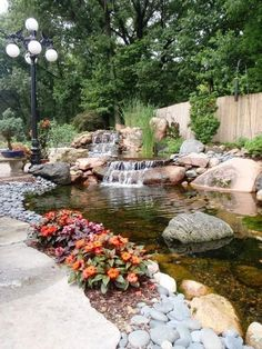 38 Gorgeous Backyard Fish Pond Design Ideas That You Definitely Like - When I initially thought about putting in a backyard fish pond, I went back to the memories of the pond I had seen as a kid. That pond was not really . Garden Pond Design, Garden Pool, Water Garden, Outdoor Water Features, Water Features In The Garden, Backyard Water Feature, Backyard Ponds, Koi Ponds, Outdoor Fish Ponds