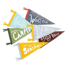 Now You Can Design Your Own Pennant Flag! Choose Your Own Base Color, Trim, and Design!    Designs:  You Are My Sunshine  Dapper  Happy Camper
