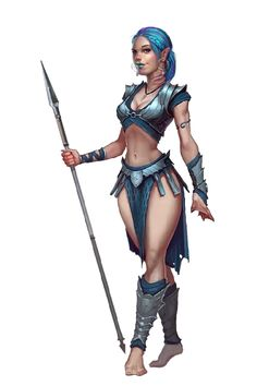Female Gillman Warrior with Spear - Pathfinder PFRPG DND D&D 3.5 5th ed d20 fantasy