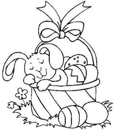 Free Bunny Sleeping in an Easter Basket Template or ColoringPage