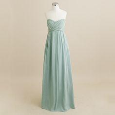 dusty shale Taryn long dress in silk chiffon
