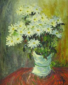 William Kolliker Painting White Daisy Still Life Oil El Paso Signed 39 x 33 inch #Realism