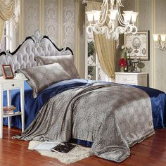 Blooming Flowers And Full Moon Navy Blue Silk Duvet Cover Set Silk Bedding Full Duvet Cover, Duvet Cover Sets, Queen Size, King Size, Silk Bedding, Comforter, Queen Bedding Sets, Flat Sheets, Bed Spreads