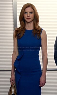 Donna�s blue dress with side ruffle on Suits.  Outfit Details: http://wornontv.net/19184/ #Suits #USA