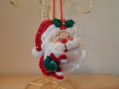 Hand Stitched Felt 3D Santa Face Ornament by QuietBendCreations