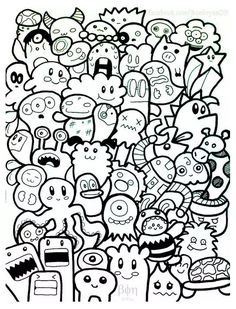 Free coloring page coloring-doodle-art-doodling-7. A Doodle with funny characters, simple to color