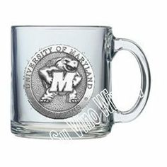 """Maryland """"Terrapins"""" - Clear Coffee Cup by Heritage Pewter. $19.99. TheUniversity of Maryland """"Terrapins""""Clear Coffee Cupisthe best way to enjoy that morning cup of coffee. ThisCoffee Cupis decorated with a pewter emblem."""