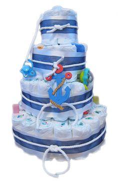 nautical theme diaper cake boy | Nautical Themed Diaper Cake by BabyLayneCo on Etsy
