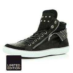 Black studded zip side high tops - high tops - shoes / boots - men