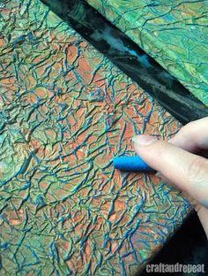 Tissue paper,paint,oil pastel - do with Orange, light & dark Burnt Sienna & Torq. crayon