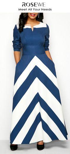 Chevron Print Split Neck Pocket Blue Dress.