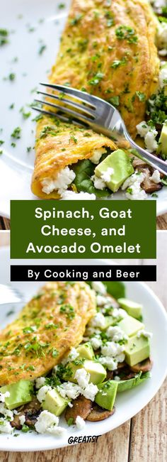3. Spinach, Goat Cheese, and Avocado Omelet #Greatist http://greatist.com/eat/healthy-breakfast-recipes-to-make-for-dinner