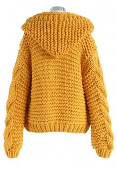 All-Over Warmth Hooded Chunky Cardigan in Mustard - BUYER'S PICK - Retro, Indie and Unique Fashion shading All-Over Warmth Hooded Chunky Cardigan in Mustard yellow XS Crochet Jacket, Crochet Cardigan, Knit Crochet, Fall Fashion Outfits, Knit Fashion, Stylish Outfits, Unique Fashion, Crochet Dress Outfits, Chunky Knit Cardigan