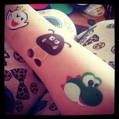 Yoshi boo and goomba from supermario facepaints by hellomisshastings