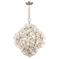 Lily Enchanted Silver Leaf 26-Inch Six-Light  Pendant