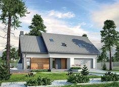 Zdjęcie projektu Murator M210 Jasna przestrzeń WAJ3695 Home Fashion, Garage Doors, Cabin, Mansions, House Styles, Outdoor Decor, Home Decor, Arquitetura, The World