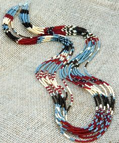 Seed bead southwest style patterned statement by EntwineArt
