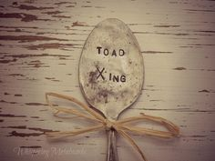TOAD XING silver plated spoon - garden pick - garden marker - vintage - antique