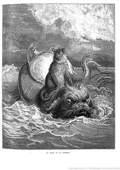 Gustave Doré - illustrations des Fables de la Fontaine - Le singe et le Dauphin Gustave Dore, Illustration Artists, Art Illustrations, Blue In Green, Honore Daumier, Monsters, Cool Pictures, Dragon, Graphics