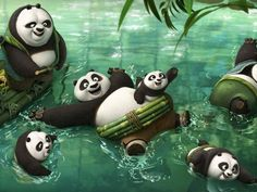 "Exclusive first look of Kung Fu Panda 3 !!! Kung Fu Panda Po (center) finds out he's not the only panda alive in ""Kung Fu Panda 3."" In fact, it's Panda-polooza as he hangs out in the cool springs. ""There's intense rejoicing, I'm reunited with my people,"" says Jack Black, who voices Po."