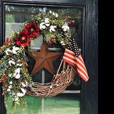 Patriotic wreath of July wreath Fourth of July decor Christmas Front Doors, Wreaths For Front Door, Door Wreaths, Front Porch, Fourth Of July Decor, 4th Of July Wreath, July 4th, Nutcracker Decor, Holiday Wreaths