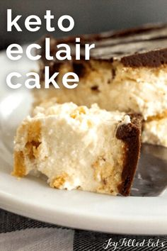 Keto Eclair Cake will satisfy your sweet tooth while still fitting into a low-carb diet. It's rich, has a creamy filling, and is topped with velvety smooth chocolate. This cool treat is the perfect dessert during the hot summer months! It's also gluten-free and grain-free too. Desserts For A Crowd, Sugar Free Desserts, Gluten Free Desserts, Low Carb Sweets, Low Carb Desserts, Low Carb Recipes, Keto Dessert Easy, Dessert Recipes, Cake Recipes