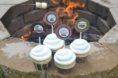 S'more Party Printable cupcake wrappers and toppers.
