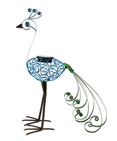 Another great find on #zulily! Blue & Green Solar Filigree Peacock Garden Statue by Exhart #zulilyfinds