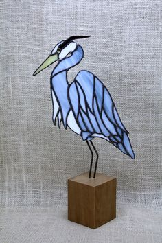 Blue Heron Stained Glass Bird Panel on Cherry Base by BerlinGlass