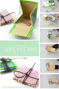 Simply make your own bags from Tetra Pak - DIY Crafts - That's how it goes! Simply make your own bags from Tetra Pak – DIY Crafts That's how it goes! Simply make your own bags from Tetra Pak Tetra Pak, Upcycled Crafts, Diy Upcycled Gift Ideas, Home Crafts, Diy And Crafts, Decor Crafts, Diy For Kids, Crafts For Kids, Diy Y Manualidades