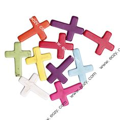 30x40mm Fashion Mixed Color Cross Turquoise Jewelry Beads Dangle for Necklace Making