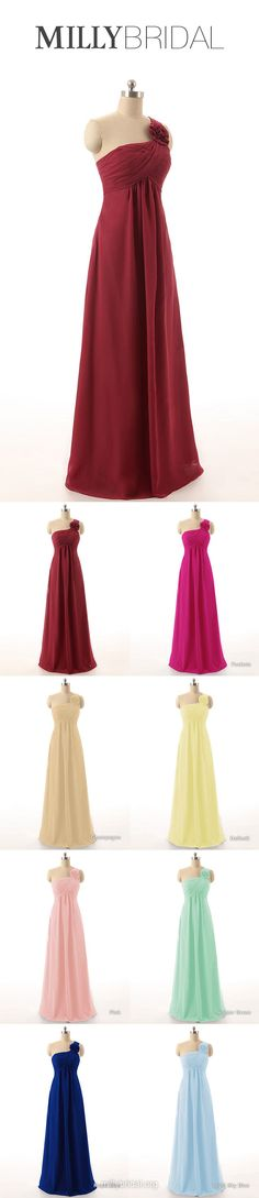 Long Bridesmaid Dresses Burgundy, Empire Bridesmaid Dress One Shoulder, Chiffon Wedding Party Dresses Modest