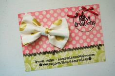gold and white headband bow headband headband by BBMCreations