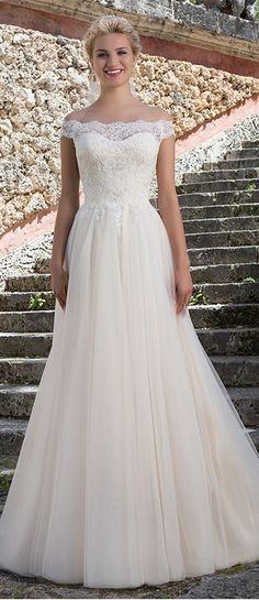 Attractive Tulle & Satin Off-the-shoulder Neckline A-Line Wedding Dresses With Beaded Lace Appliques