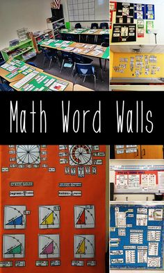 There's so much math word wall inspiration in this post, so many math classroom photos sent in by teachers of their beautiful math bulletin boards. Teaching 5th Grade, 7th Grade Math, Teaching Math, Math Vocabulary Words, Math Words, Math Bulletin Boards, Math Classroom Decorations, Math Word Walls, Math Anchor Charts