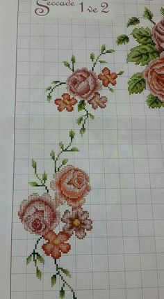 This Pin was discovered by Aki Cross Stitch Rose, Cross Stitch Borders, Cross Stitch Flowers, Cross Stitch Designs, Cross Stitching, Cross Stitch Embroidery, Hand Embroidery, Cross Stitch Patterns, Free To Use Images