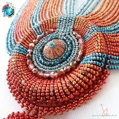 "BOTB '16 Battle Of The Beadsmith 2016 ""Interlude"" by Joanne Zammit (Malta) #BOTB #Beadsmith beadwork beadweaving bead embroidery natural sea urchin shell gemstones Miyuki beads Joanne Zammit"