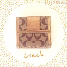 Gold and Khaki Coach Wallet Genuine Leather Coach Wallet! Small pen mark on inside of wallet, otherwise in great condition! Barely used! Coach Accessories Key & Card Holders